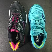 Notice width of heel cup between two shoes